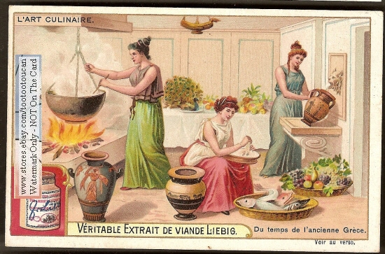 Ancient Greek Kitchen And Cooks Nice C1904chromo Card Ebay
